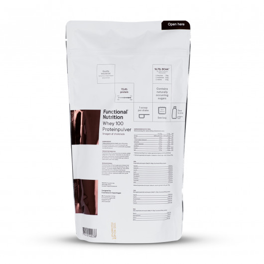 Whey 100 proteinpulver 850g A taste of chocolate bagside